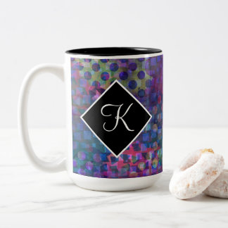 Monogram with Multicolored Abstract Digital Art Two-Tone Coffee Mug