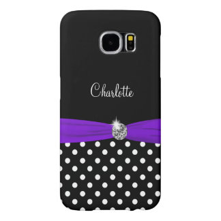 Monogram With Purple Bow Samsung Galaxy S6 Cases