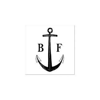 Monogram with Ship Anchor Rubber Stamp