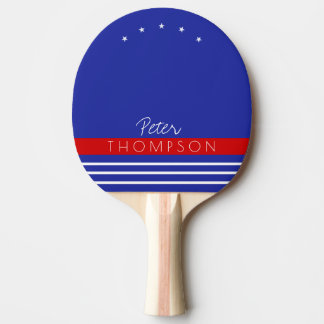 monogram with stripes on blue Ping-Pong paddle
