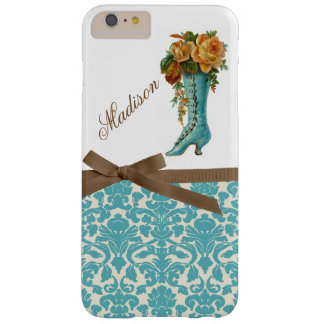 Monogram with Victorian Boot & Damask background Barely There iPhone 6 Plus Case