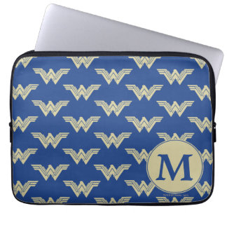 Monogram Wonder Woman Logo Pattern Laptop Sleeve