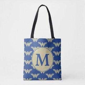 Monogram Wonder Woman Logo Pattern Tote Bag