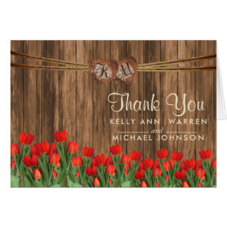 Monogram Wood Hearts with Red Tulips Card