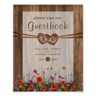 Monogram Wood Hearts with Wildflowers Poster