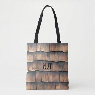 Monogram: Wooden Shingles Abstract Photography Tote Bag