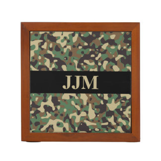 Monogram Woodland Tan Green Camo Camouflage Black Desk Organiser