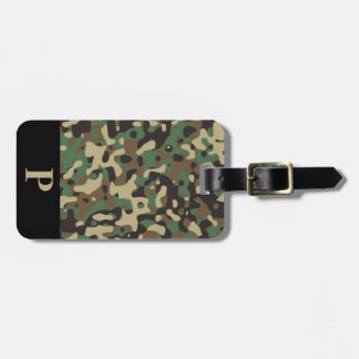Monogram Woodland Tan Green Camo Camouflage Black Luggage Tag