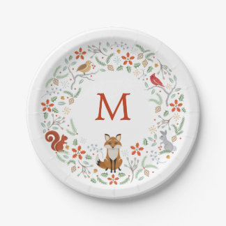Monogram Woodland Wreath Paper Plate 7 Inch Paper Plate