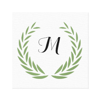 Monogram wreath crown - Customize with your letter Canvas Print