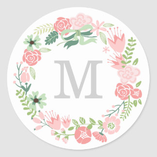 Monogram Wreath | Envelope Seal Round Sticker