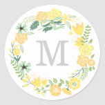 Monogram Wreath   Envelope Seal Round Sticker