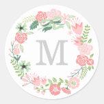 Monogram Wreath | Envelope Seal Round Stickers