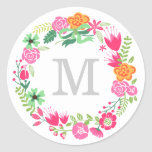 Monogram Wreath | Envelope Seal Round Stickers