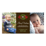 Monogram wreath red green merry Christmas greeting Customised Photo Card