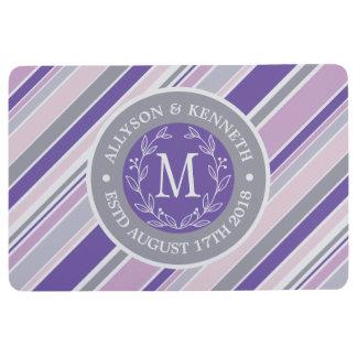 Monogram Wreath Trendy Stripes Purple Laurel Leaf Floor Mat