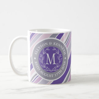 Monogram Wreath Trendy Stripes Purple Leaf Laurel Coffee Mug
