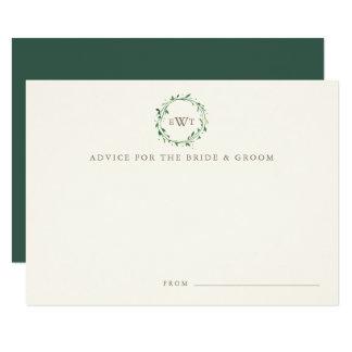 Monogram Wreath Wedding Advice Cards   Forest