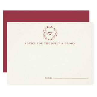 Monogram Wreath Wedding Advice Cards   Marsala