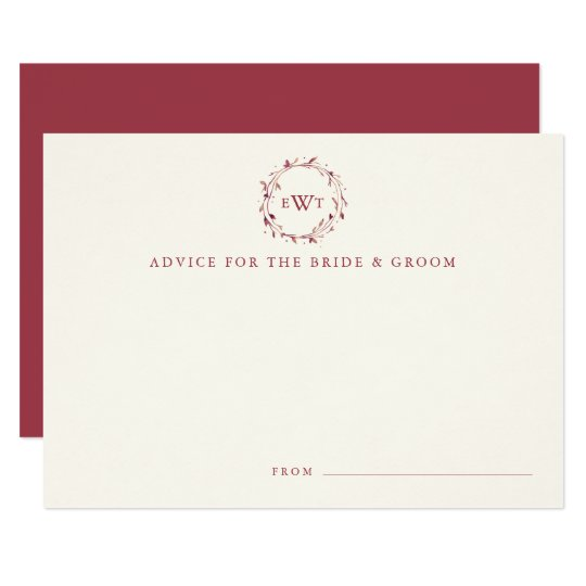 Monogram Wreath Wedding Advice Cards | Marsala