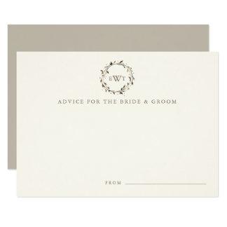Monogram Wreath Wedding Advice Cards   Twig 9 Cm X 13 Cm Invitation Card