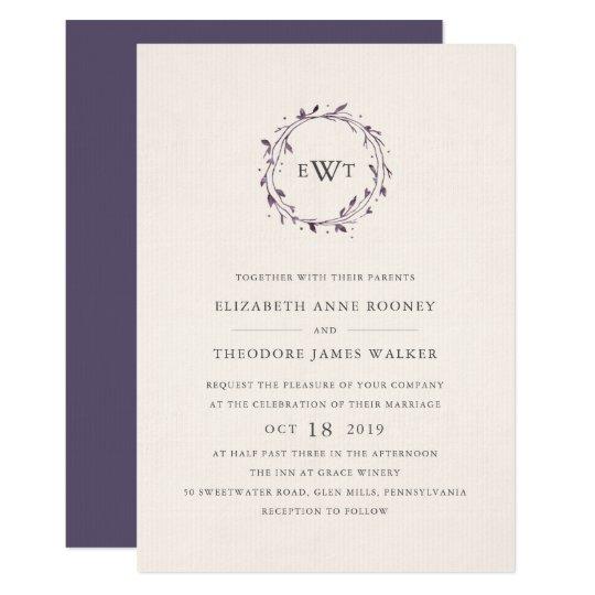 Monogram Wreath Wedding Invitation   Plum