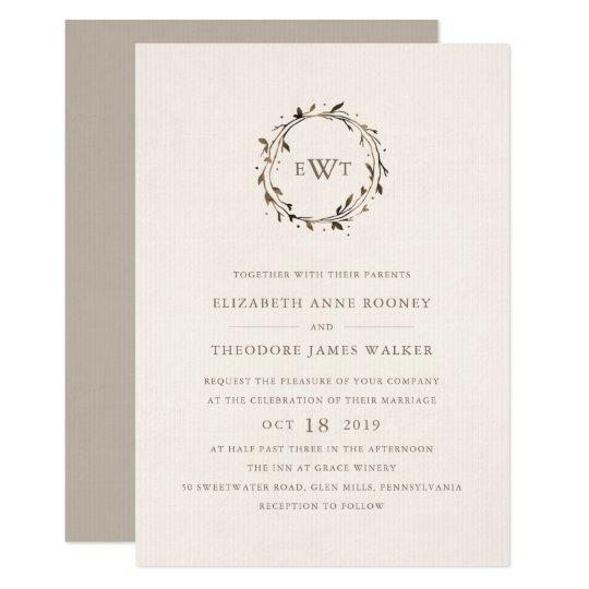 Monogram Wreath Wedding Invitation | Twig