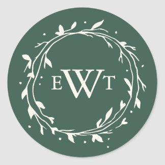 Monogram Wreath Wedding Stickers | Forest