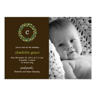 Monogram Wreath Winter Birth Announcement Personalized Invitations
