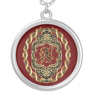Monogram X Customize Edit Change Background Color Round Pendant Necklace
