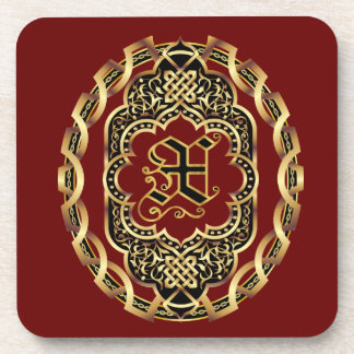Monogram X Customize & Edit For Background Color Coasters