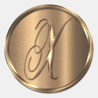 Monogram X NONMETALLIC Bronze Envelope Seal Round Sticker