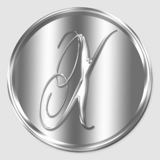 Monogram X Silver Color Round Sticker