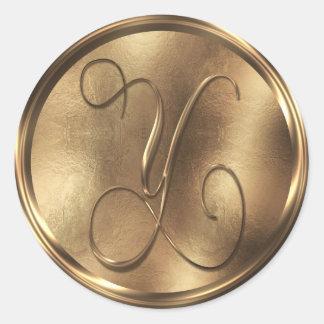 Monogram Y Bronze Round Sticker