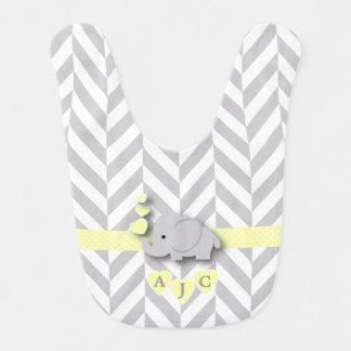 Monogram Yellow And White Chevron Baby Elephant Bib