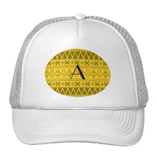 Monogram yellow aztec pattern hats