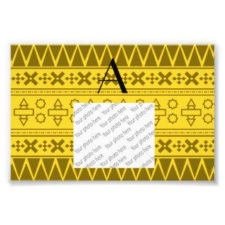 Monogram yellow aztec pattern art photo