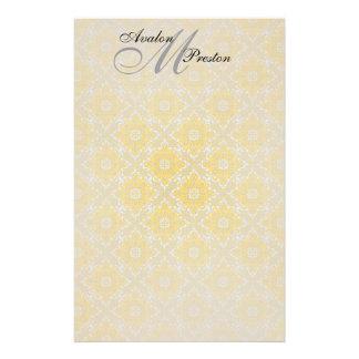 Monogram Yellow & Black Lace Wedding Stationery
