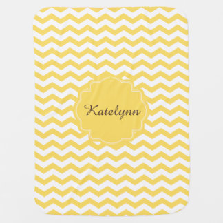 Monogram Yellow Chevron Zigzag Custom Baby Blanket