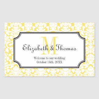 Monogram yellow damask frame out of town gift bag stickers