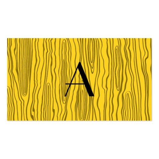 Monogram yellow faux bois business cards
