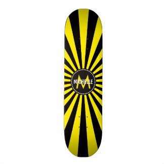 Monogram Yellow Funky Sun Rays Pattern Custom Skateboard