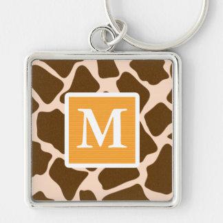 Monogram Yellow Giraffe Print Keychain