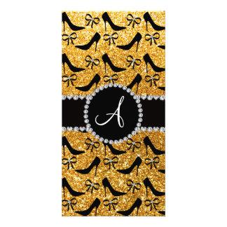 Monogram yellow glitter black high heels bow photo card
