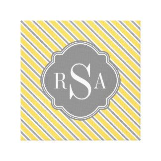 Monogram Yellow Grey White Stripe Pattern Canvas Print
