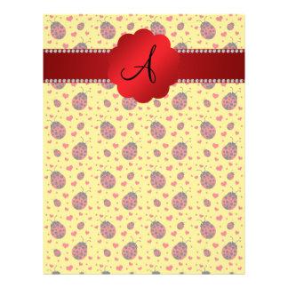 Monogram yellow ladybug hearts 21.5 cm x 28 cm flyer