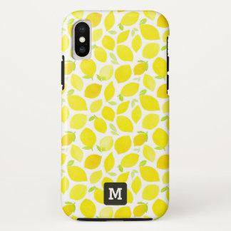 Monogram. Yellow Lemons in Watercolor. iPhone X Case