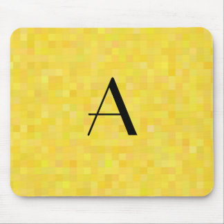 Monogram yellow mosaic squares mouse pad