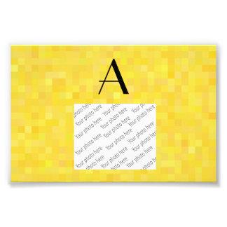 Monogram yellow mosaic squares art photo