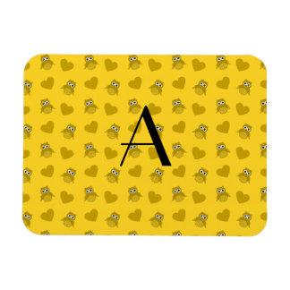 Monogram yellow owls and hearts rectangular magnet